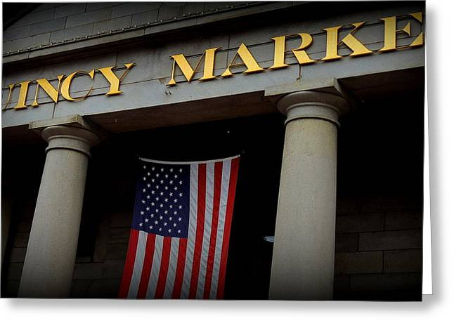 Grocery Store Greeting Cards - Quincy Market Greeting Card by Mim White