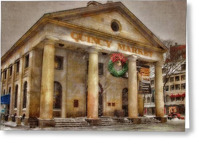 Quincy Market Snow 2 Greeting Card by Joann Vitali