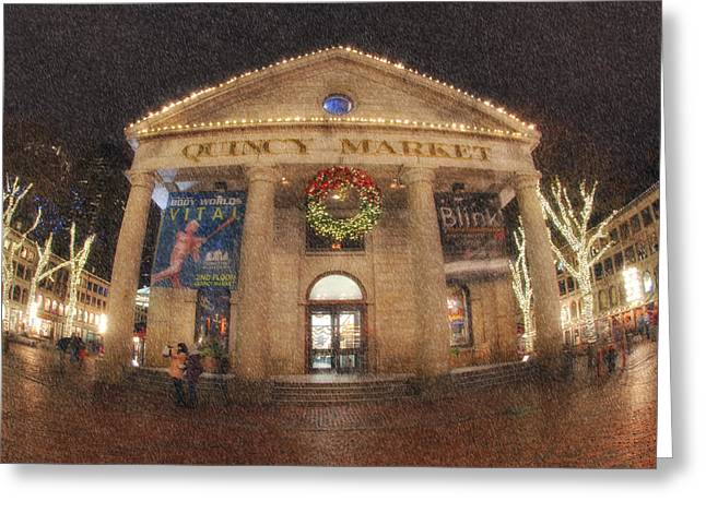 Faneuil Hall Greeting Cards - Quincy Market Snow Greeting Card by Joann Vitali