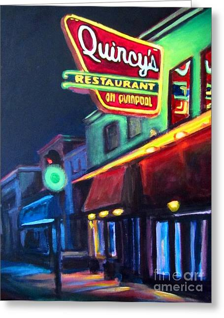 Art In Halifax Greeting Cards - Quincys on Quinpool Road in Halifax Greeting Card by John Malone Halifax Art