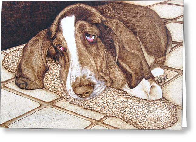 Print On Canvas Pyrography Greeting Cards - Quincys Time Out Greeting Card by Roger Storey