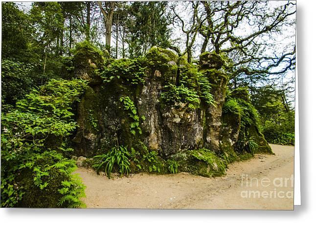 Leafy Cave Greeting Cards - Quinta da Regaleira Greenery Greeting Card by Deborah Smolinske
