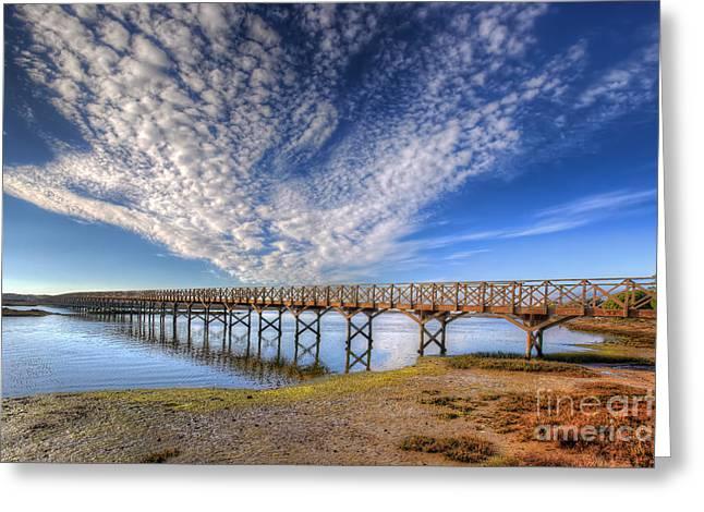 Ilha De Faro Greeting Cards - Quinta do Lago Wooden Bridge Greeting Card by English Landscapes