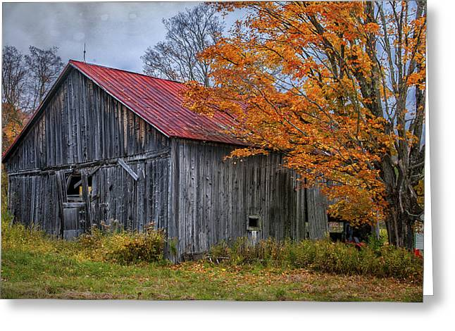 Vermont Village Greeting Cards - Quintessential Vermont - Rustic Barn Series  Greeting Card by Thomas Schoeller