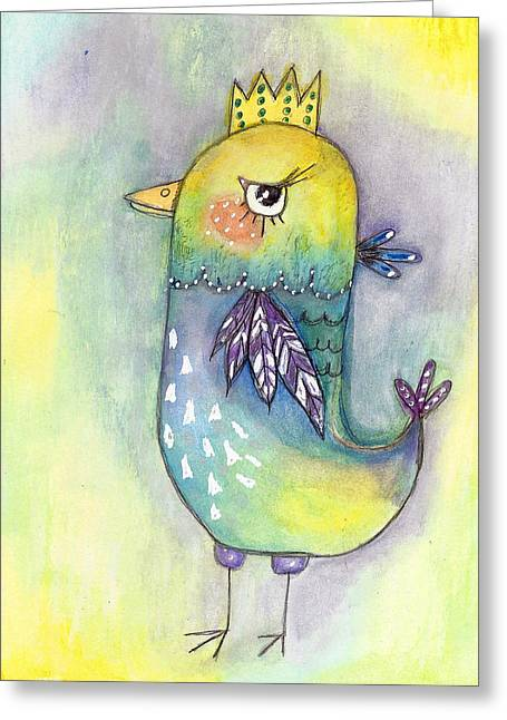 Quirky Mixed Media Greeting Cards - Quirky Bird Greeting Card by Margo Darretta