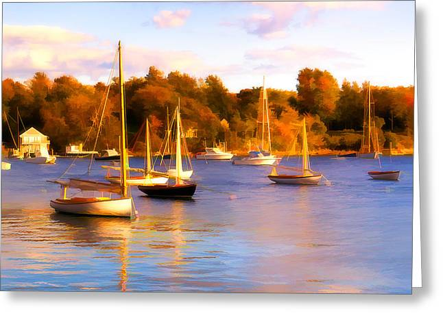 Cat Boat Greeting Cards - Quissett Evening Greeting Card by Michael Petrizzo