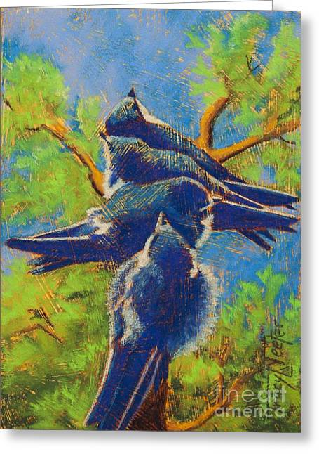 Flying Bird Pastels Greeting Cards - Quit Pushing Greeting Card by Tracy L Teeter