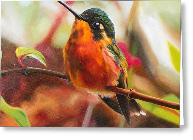 Quite Paintings Greeting Cards - Quite Hummingbird Greeting Card by Melinda Cummings
