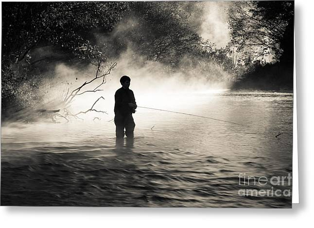 Fishing Creek Greeting Cards - Quite Morning in the Creek Greeting Card by Iris Greenwell