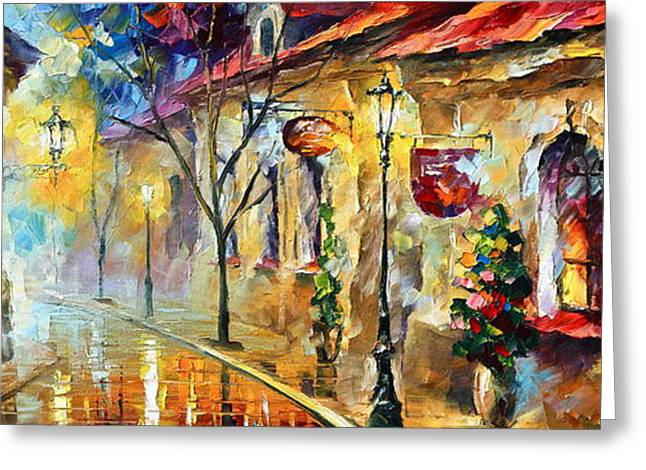 Old Street Greeting Cards - Quite Morning Greeting Card by Leonid Afremov