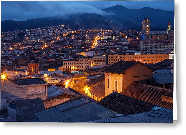 Neogothic Greeting Cards - Quito Old Town at Night Greeting Card by Jess Kraft