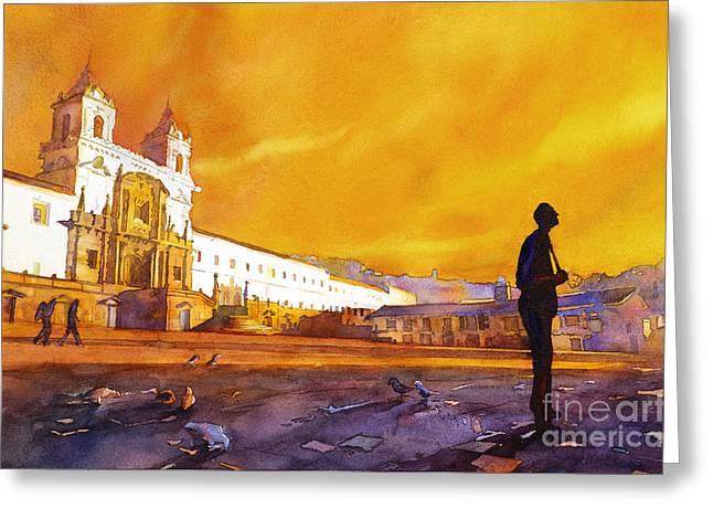 St Francis Prayer Greeting Cards - Quito Sunrise Greeting Card by Ryan Fox
