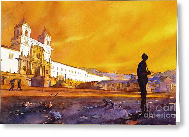 Watercolor Society Greeting Cards - Quito Sunrise Greeting Card by Ryan Fox