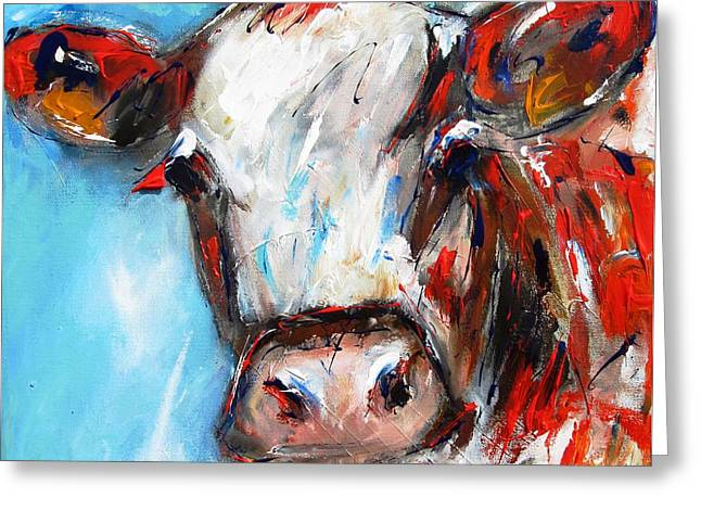 Award Winning Art Greeting Cards - Quizzical cow painting Greeting Card by Mary Cahalan Lee