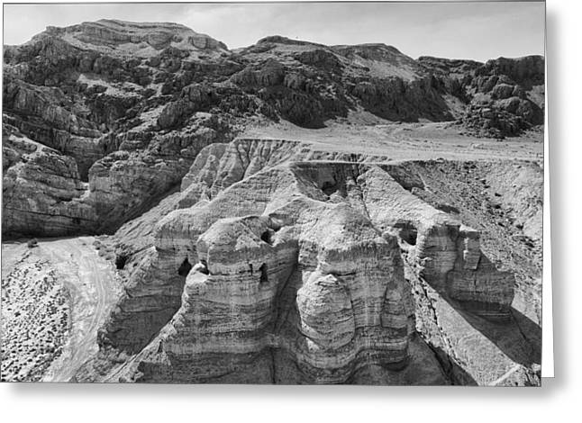 Essene Greeting Cards - Qumran Caves BW Greeting Card by Stephen Stookey