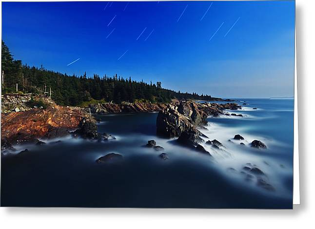 Maine Landscape Greeting Cards - Quoddy Coast by Moonlight Greeting Card by Bill Caldwell -        ABeautifulSky Photography