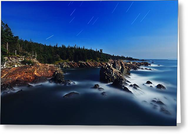 Quoddy Greeting Cards - Quoddy Coast by Moonlight Greeting Card by Bill Caldwell -        ABeautifulSky Photography