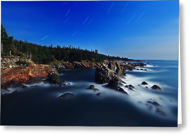 Ocean Art Photography Greeting Cards - Quoddy Coast by Moonlight Greeting Card by Bill Caldwell -        ABeautifulSky Photography