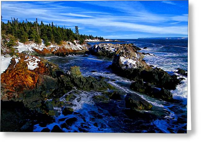 Beautiful Scenery Greeting Cards - Quoddy Coast with Snow Greeting Card by Bill Caldwell -        ABeautifulSky Photography