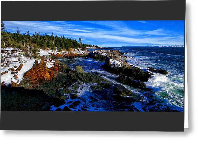 Quoddy Greeting Cards - Quoddy Coast with Snow Greeting Card by Bill Caldwell -        ABeautifulSky Photography