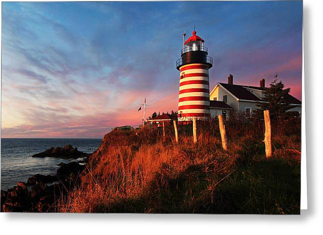 Coastal Maine Greeting Cards - Quoddy Head at Sunrise Greeting Card by Bill Caldwell -        ABeautifulSky Photography