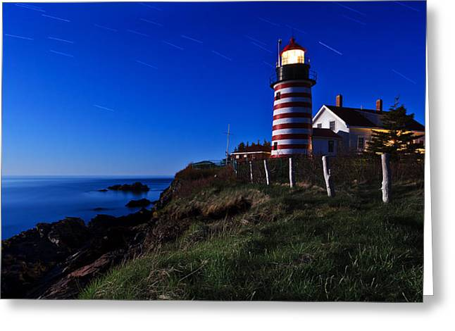 Maine Landscape Greeting Cards - Quoddy Head by Moonlight Panorama Greeting Card by Bill Caldwell -        ABeautifulSky Photography