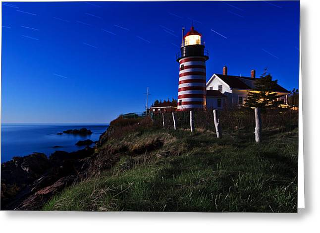 Quoddy Greeting Cards - Quoddy Head by Moonlight Panorama Greeting Card by Bill Caldwell -        ABeautifulSky Photography