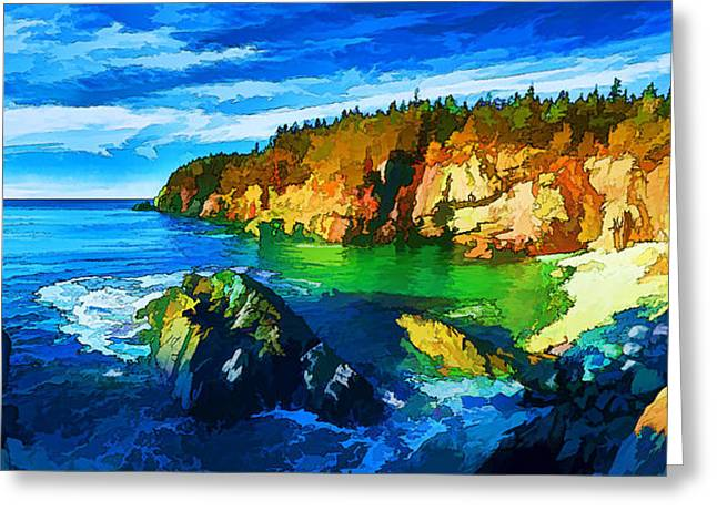 Ocean Panorama Digital Art Greeting Cards - Quoddy Head Cove - Painterly Greeting Card by Bill Caldwell -        ABeautifulSky Photography