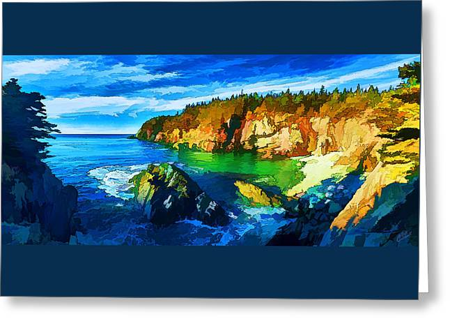 Quoddy Greeting Cards - Quoddy Head Cove - Painterly Greeting Card by Bill Caldwell -        ABeautifulSky Photography