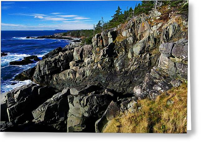 Ocean Art Photography Greeting Cards - Quoddy Head Ledge Greeting Card by Bill Caldwell -        ABeautifulSky Photography