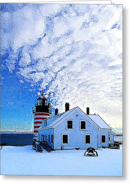 Ocean Art Photography Greeting Cards - Quoddy Head Lighthouse in Winter 1 Greeting Card by Bill Caldwell -        ABeautifulSky Photography