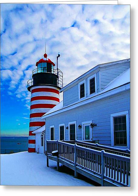 Winter Digital Photo Scene Greeting Cards - Quoddy Head Lighthouse in Winter 2 Greeting Card by Bill Caldwell -        ABeautifulSky Photography