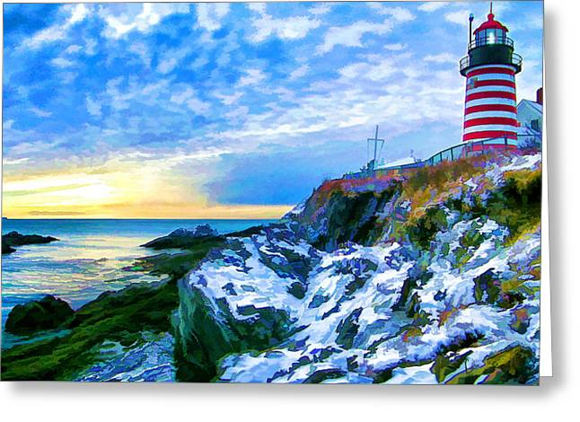 Ocean Art Photography Greeting Cards - Quoddy Head Lighthouse in Winter 3 Greeting Card by Bill Caldwell -        ABeautifulSky Photography