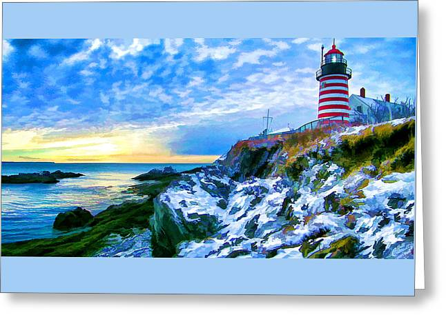 Quoddy Greeting Cards - Quoddy Head Lighthouse in Winter 3 Greeting Card by Bill Caldwell -        ABeautifulSky Photography