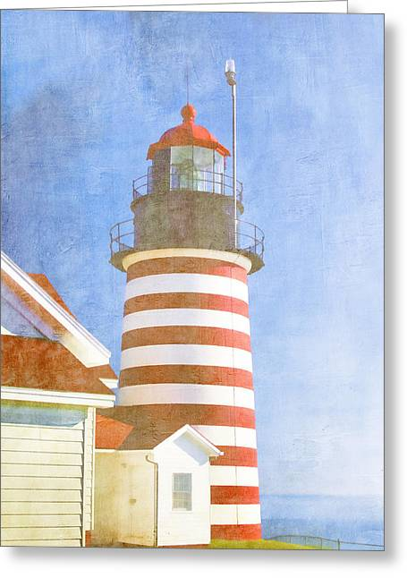 New England Ocean Greeting Cards - Quoddy Lighthouse Lubec Maine Greeting Card by Carol Leigh