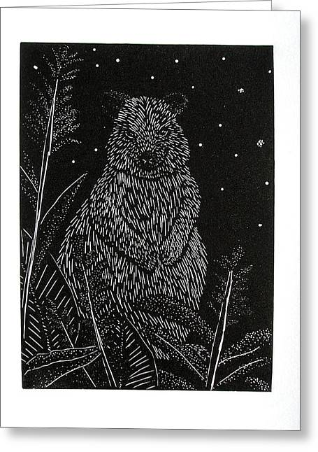 Engraving Pyrography Greeting Cards - Quokka Greeting Card by Jeanette K