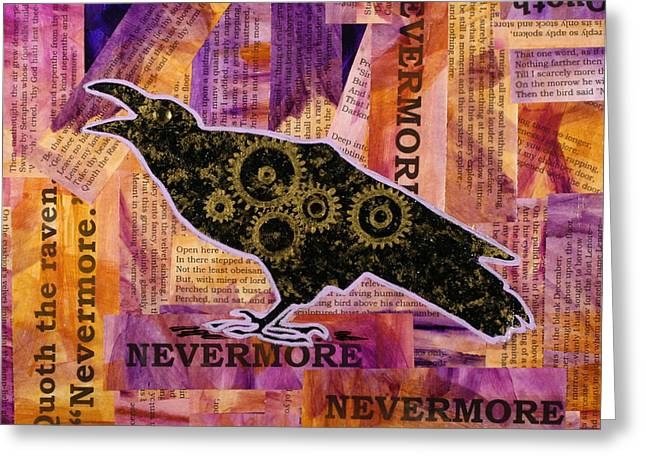 Cog Paintings Greeting Cards - Quoth the Raven Greeting Card by Julianne Hunter