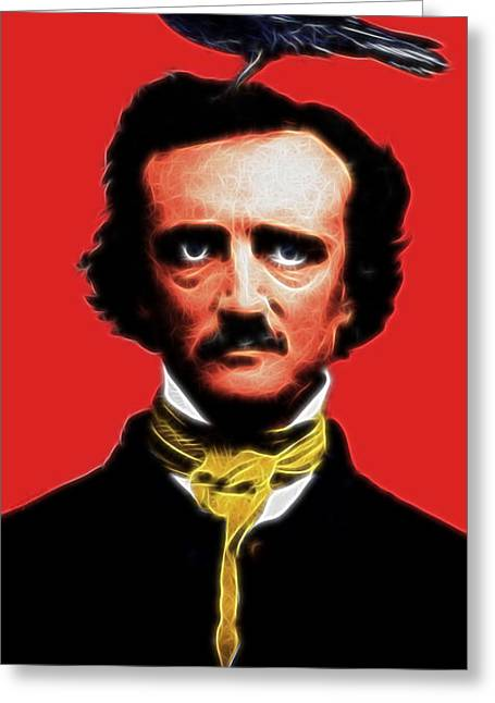 Mustaches Digital Greeting Cards - Quoth The Raven Nevermore - Edgar Allan Poe - Electric Greeting Card by Wingsdomain Art and Photography