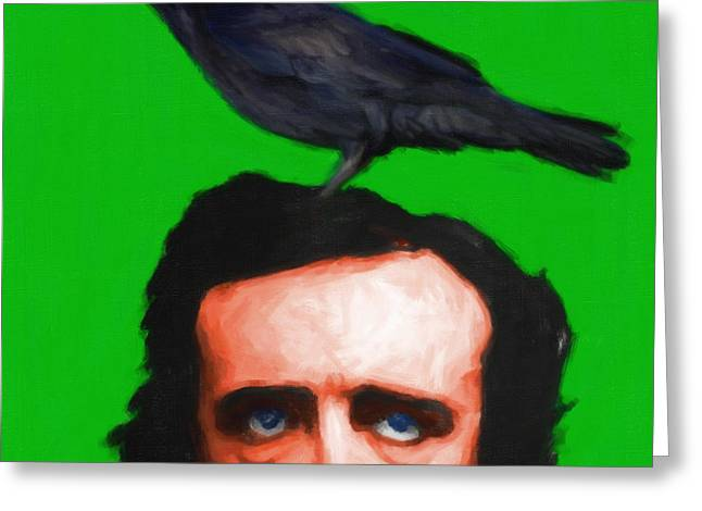 Edgar Alan Poe Greeting Cards - Quoth The Raven Nevermore - Edgar Allan Poe - Painterly - Green - Square Greeting Card by Wingsdomain Art and Photography