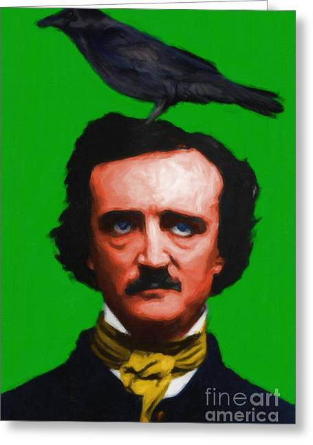 Mustache Digital Art Greeting Cards - Quoth The Raven Nevermore - Edgar Allan Poe - Painterly - Green - Standard Size Greeting Card by Wingsdomain Art and Photography