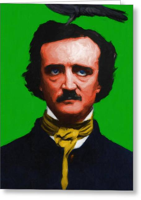 Edgar Alan Poe Greeting Cards - Quoth The Raven Nevermore - Edgar Allan Poe - Painterly - Green Greeting Card by Wingsdomain Art and Photography
