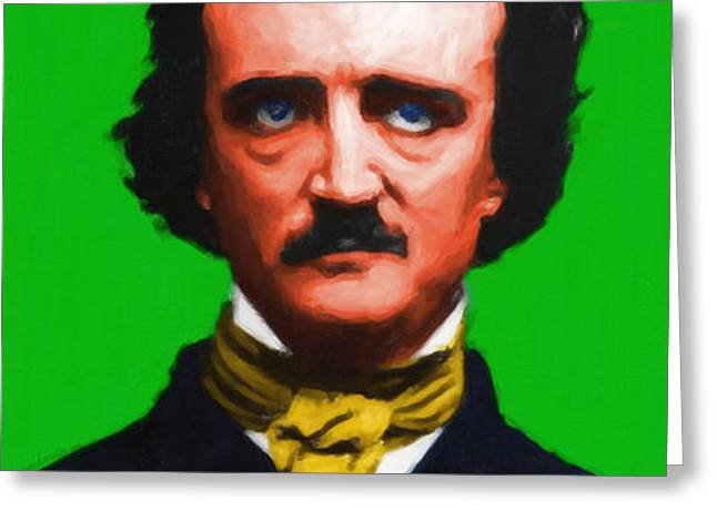 Quoth The Raven Nevermore - Edgar Allan Poe - Painterly - Green - With Text Greeting Card by Wingsdomain Art and Photography