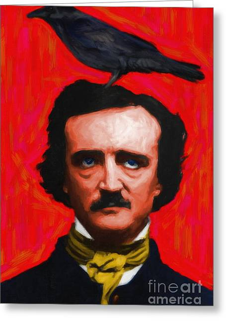 Wingsdomain Greeting Cards - Quoth The Raven Nevermore - Edgar Allan Poe - Painterly - Red - Standard Size Greeting Card by Wingsdomain Art and Photography