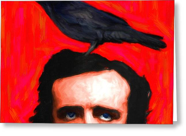 Mustaches Digital Greeting Cards - Quoth The Raven Nevermore - Edgar Allan Poe - Painterly - Square Greeting Card by Wingsdomain Art and Photography