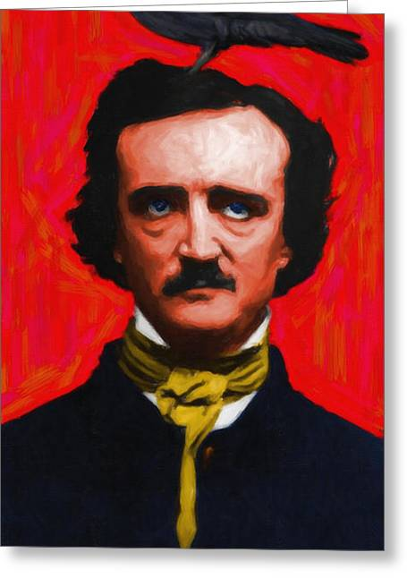 Mustache Digital Art Greeting Cards - Quoth The Raven Nevermore - Edgar Allan Poe - Painterly Greeting Card by Wingsdomain Art and Photography