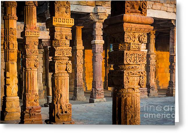 Red Sandstone Greeting Cards - Qutab Minar Hall Greeting Card by Inge Johnsson