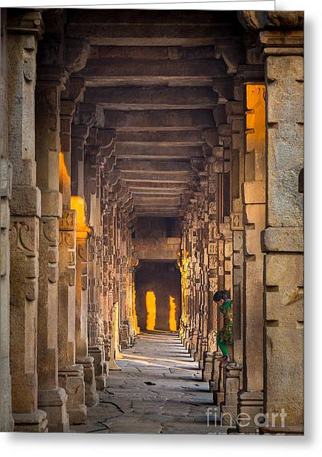 Native Stone Greeting Cards - Qutab Minar Hidden Boy Greeting Card by Inge Johnsson