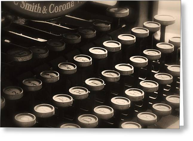 Typewriter Keys Greeting Cards - Qwerty Greeting Card by Elizabeth Budd