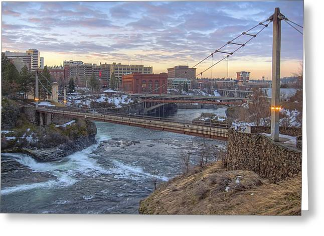 Spokane Greeting Cards - R F P PEDESTRIAN BRIDGE at SUNRISE - SPOKANE WASHINGTON Greeting Card by Daniel Hagerman