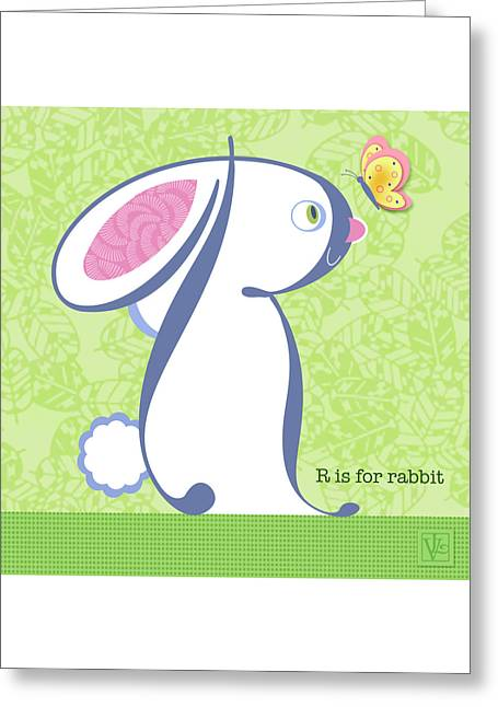 Valerie Drake Lesiak Greeting Cards - R is for Rabbit Greeting Card by Valerie   Drake Lesiak